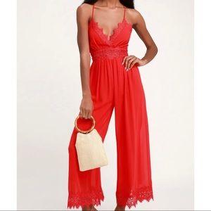 Lulus Red Lace V-Neck Culottes Jumpsuit